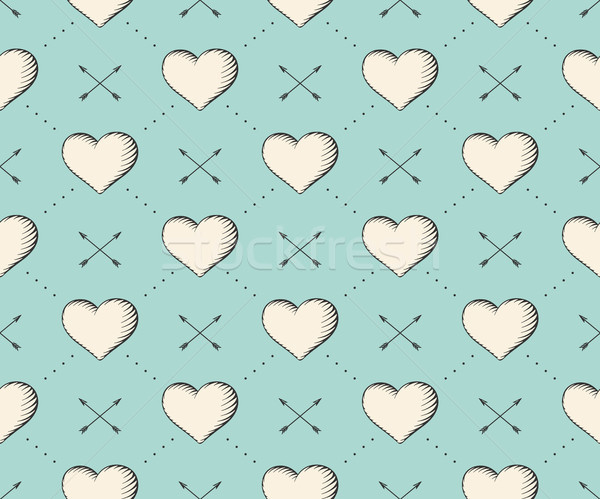 Seamless pattern with heart and arrows in vintage style engraving on a turquoise background for Vale Stock photo © FoxysGraphic