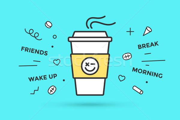 アイコン コーヒーカップ 白 孤立した 青 ミント ストックフォト © FoxysGraphic
