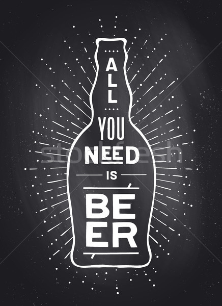 Poster bira değil afiş metin Stok fotoğraf © FoxysGraphic