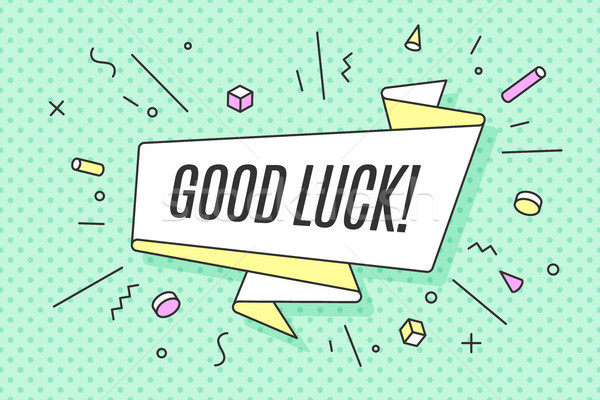 Stock photo: Ribbon banner with text Good Luck