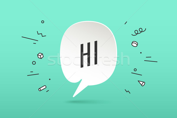 Icon of white paper cloud talk with text Hi Stock photo © FoxysGraphic