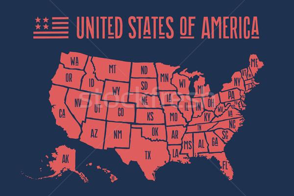 Poszter térkép Egyesült Államok Amerika nyomtatott USA Stock fotó © FoxysGraphic