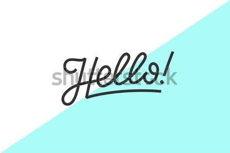 привет баннер плакат наклейку текста икона Сток-фото © FoxysGraphic