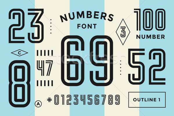 Nummers doopvont sport numeriek meetkundig regelmatig Stockfoto © FoxysGraphic