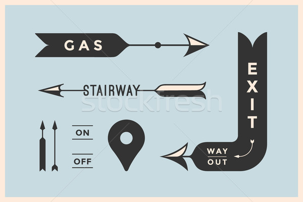 Set of vintage arrows and banners with inscription Exit, Way Out, Gas, Stairway Stock photo © FoxysGraphic