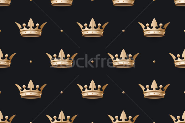 Seamless pattern with gold king crown on a dark black background Stock photo © FoxysGraphic