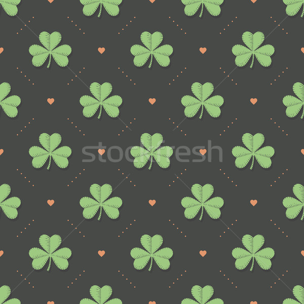 Seamless irish green pattern with clover and heart on a dark gray background Stock photo © FoxysGraphic