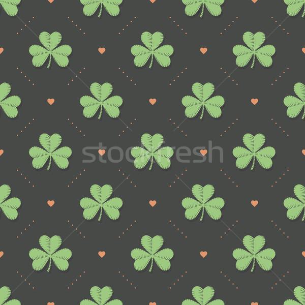 бесшовный ирландский зеленый шаблон клевера сердце Сток-фото © FoxysGraphic