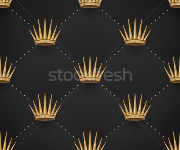 シームレス 金 パターン 王 暗い 黒 ストックフォト © FoxysGraphic
