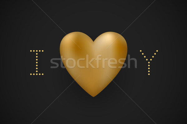 Message I love you. Gold heart Valentine Day on a black background for greeting card. Vector illustr Stock photo © FoxysGraphic