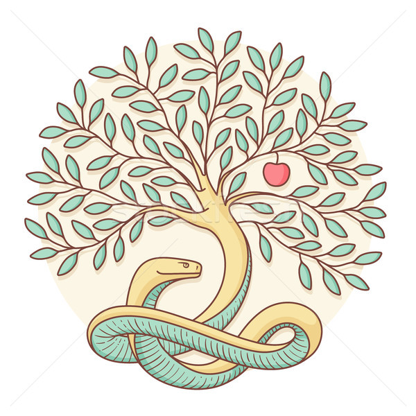 Tree the knowledge of good and evil with snake, apple. Colorful design. Vector Illustration. Stock photo © FoxysGraphic