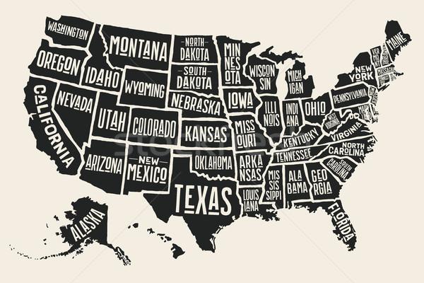 Cartaz mapa Estados Unidos américa preto e branco imprimir Foto stock © FoxysGraphic