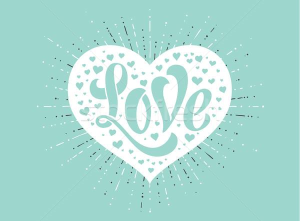 Kéz szeretet fehér szív türkiz üdvözlőlap Stock fotó © FoxysGraphic