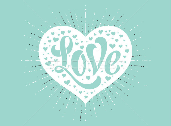 Main amour blanche coeur turquoise carte de vœux Photo stock © FoxysGraphic