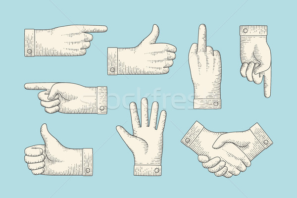 Set of vintage drawing hand signs in engraving style Stock photo © FoxysGraphic
