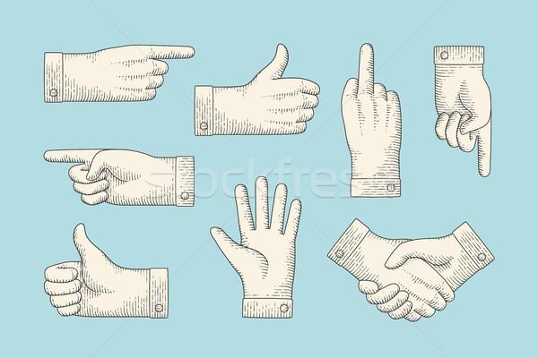 Ayarlamak bağbozumu çizim el işaretleri oyma Stok fotoğraf © FoxysGraphic
