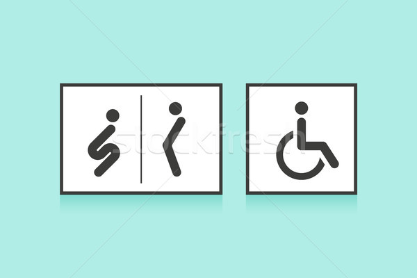 Set of icons for restroom or toilet. Man, woman and wheelchair person symbol Stock photo © FoxysGraphic