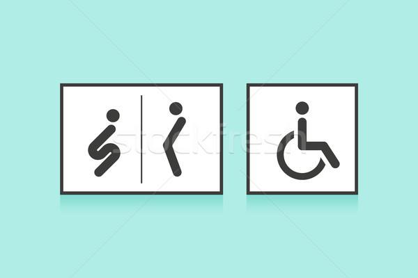 Zestaw ikona toaleta WC człowiek kobieta Zdjęcia stock © FoxysGraphic