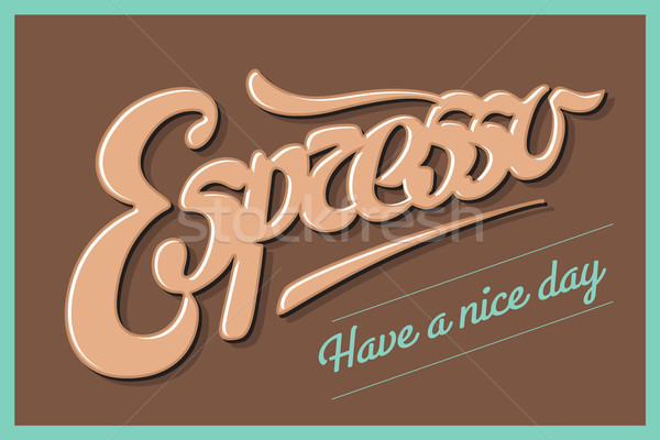 Poster coffee with hand drawn lettering Espresso Stock photo © FoxysGraphic