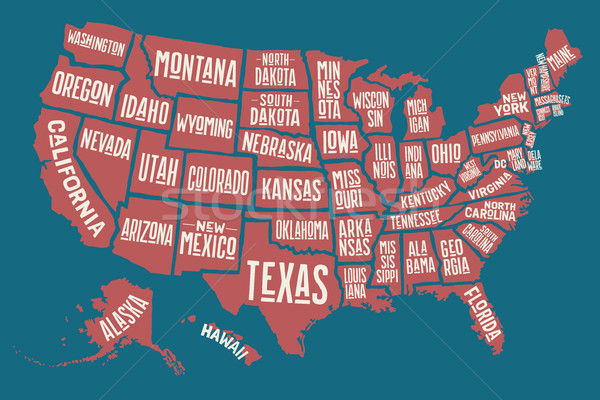 Stock photo: Poster map United States of America with state names