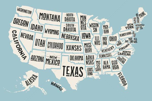 Stock fotó: Poszter · térkép · Egyesült · Államok · Amerika · nyomtatott · USA