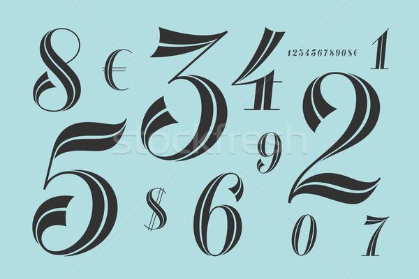 Számok betűtípus klasszikus elegáns kortárs mértani Stock fotó © FoxysGraphic