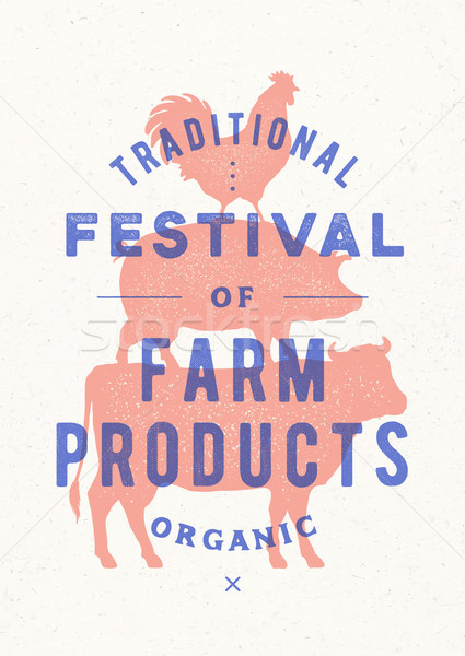 Poster for farm fest. Cow, pig, rooster stand on each other Stock photo © FoxysGraphic