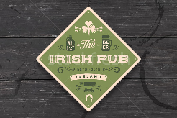 Coaster for Irish Pub. Vintage drawing for bar, pub Stock photo © FoxysGraphic