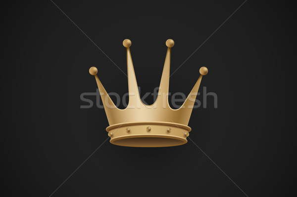Icon of old royal crown on a dark black background. Vector Illustration. Stock photo © FoxysGraphic