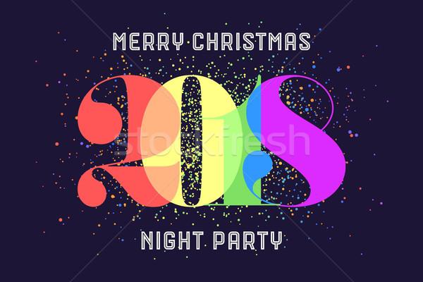 Vrolijk christmas wenskaart kleurrijk regenboog tekst Stockfoto © FoxysGraphic