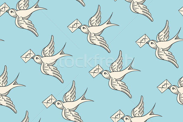 Seamless pattern with old school vintage bird and postal envelope Stock photo © FoxysGraphic