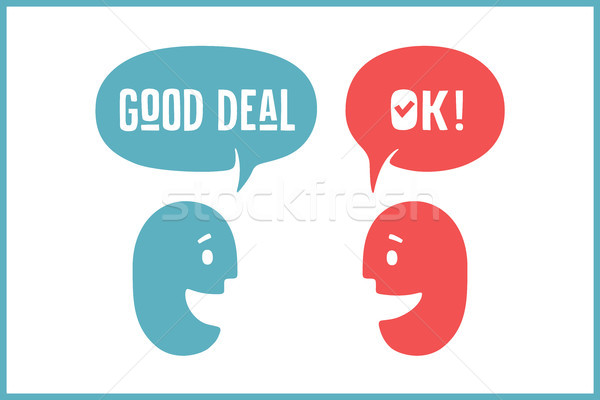 Two people with different shapes cloud talk for discount themes. Word Ok and Good Deal Stock photo © FoxysGraphic