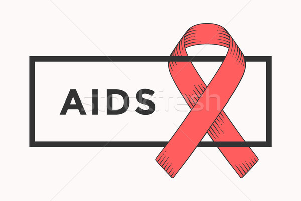 Poster and banner with text AIDS and red ribbon Stock photo © FoxysGraphic