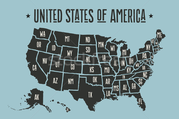 Poster harita Amerika Birleşik Devletleri Amerika siyah baskı Stok fotoğraf © FoxysGraphic