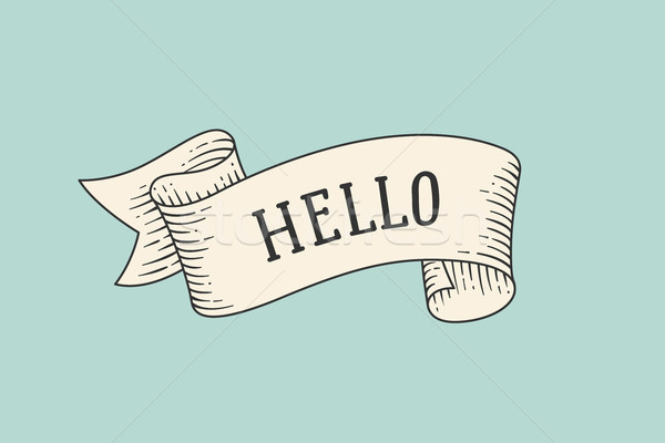 Greeting card with ribbon and word Hello Stock photo © FoxysGraphic