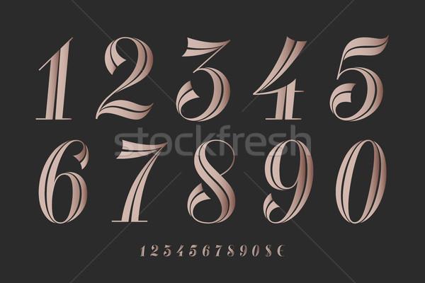 Nummers doopvont klassiek elegante tijdgenoot meetkundig Stockfoto © FoxysGraphic