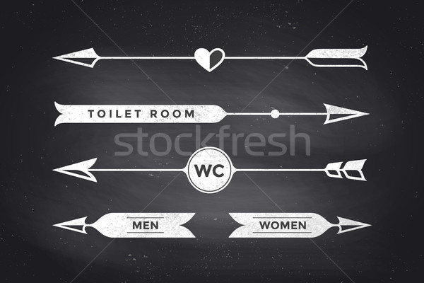 Set of vintage arrows and banners with inscription WC, Toilet Stock photo © FoxysGraphic