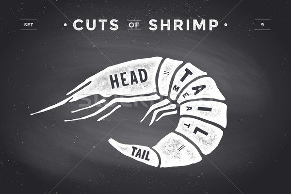 Cut of meat set. Poster Butcher diagram and scheme - Shrimp Stock photo © FoxysGraphic