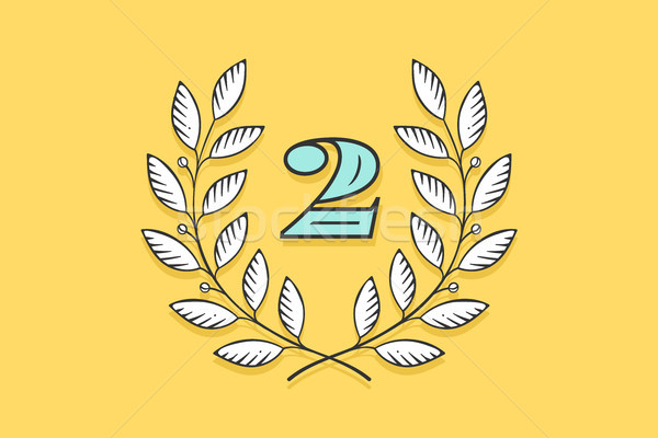 Laurel wreath icon with number Two Stock photo © FoxysGraphic