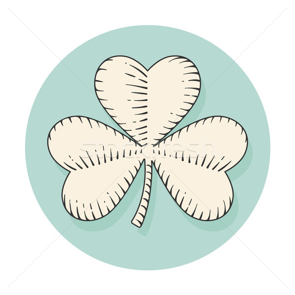 Icon clover for st. Patrick Day in engraving style. Symbol isolated on a turquoise circle background Stock photo © FoxysGraphic