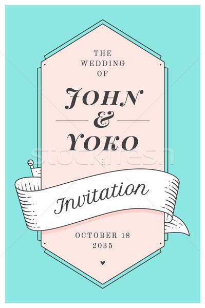 Bağbozumu düğün davetiyesi evlilik tebrik gönderemezsiniz kart Stok fotoğraf © FoxysGraphic