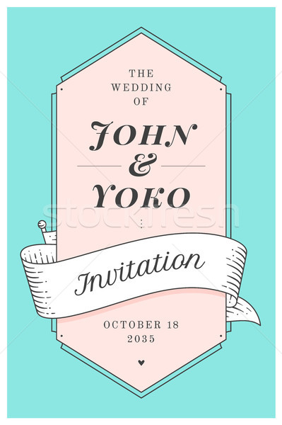 Vintage invitation de mariage mariage accueil post carte Photo stock © FoxysGraphic