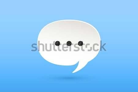 ストックフォト: アイコン · 白 · 紙 · 雲 · 話 · チャット