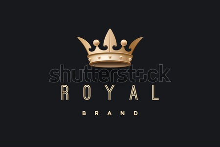 Emblem with gold king crown and inscription Royal brand Stock photo © FoxysGraphic