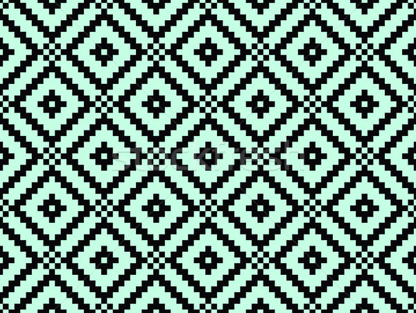 Seamless modern stylish texture and pattern. Black repeating geometric tiles with dotted rhombus on  Stock photo © FoxysGraphic