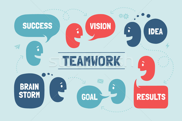 Team people with different shapes cloud talk or bubble for business themes Stock photo © FoxysGraphic