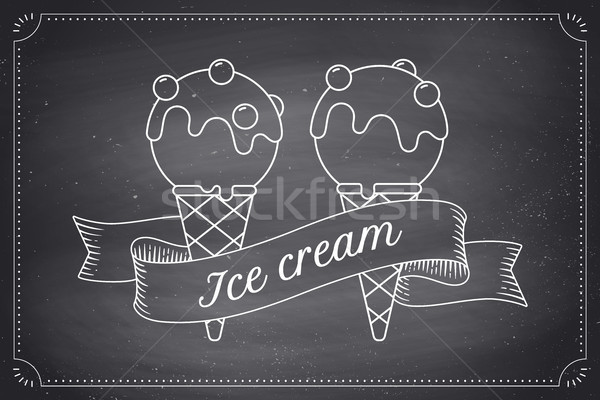 Ice cream scoop in cones and vintage engraving ribbon Stock photo © FoxysGraphic