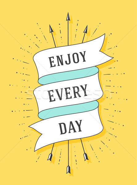 Stock photo: Enjoy every day. Old ribbon banner