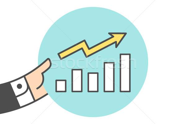 Icono crecimiento tabla empresario mano línea Foto stock © FoxysGraphic