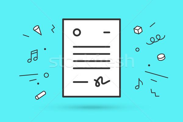 Ikon levél fehér szöveg vonal grafikus Stock fotó © FoxysGraphic